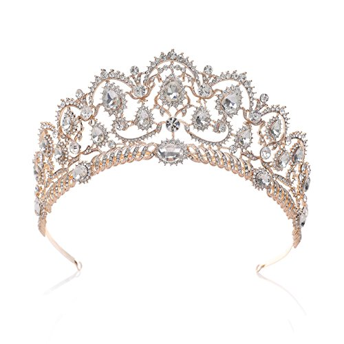 SWEETV Rose Gold Wedding Tiaras and Crowns for Women, Rhinestone Queen Tiara Headpieces for Women Crystal Hair…