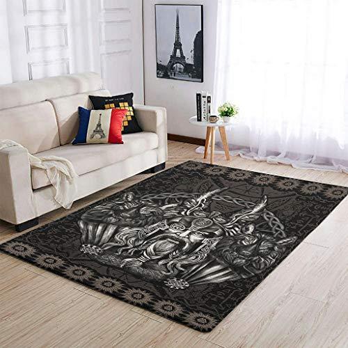 Viking Odin Alfombra fácil de limpiar para decorar el salón – para dormitorio cama blanca 7 91 x 152 cm