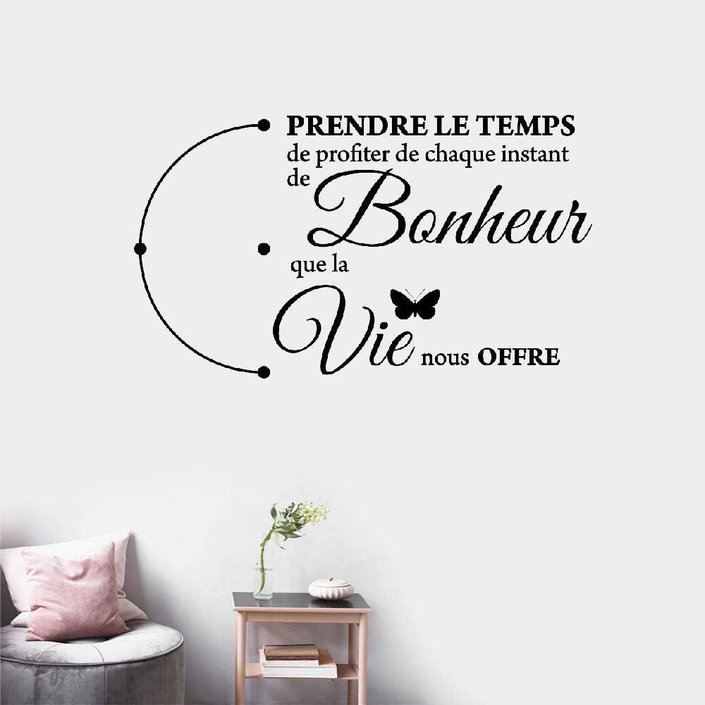Stickers Muraux Citation De Prendre Le Temps De Profiter De Chaque Instant De Bonheur Que La Vie Nous Offre Pour Salon Chambre Amazon Ca Outils Et Bricolage