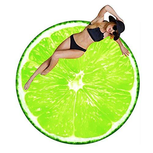 Ducomi Ibiza – Toalla antiarena redonda para mujer y hombre – Ideal para playa, pícnic, casa, piscina o disfraz, mantel con diseños divertidos de colores – Diámetro 150 cm (limón)