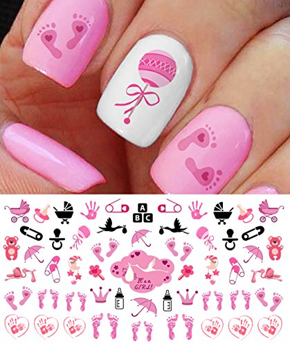 'Its a Girl!' Nail Art Decals - Footprints, Strollers & More! Great Baby Shower Gift!