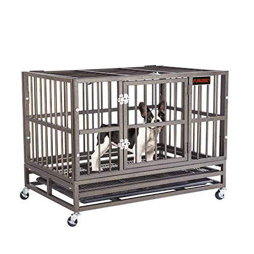FURUISEN 37 Inch Heavy Duty Dog Crate, Strong Metal Military Pet Kennel Playpen Large Dogs Cage with Lockable Wheels & Two Prevent Escape Lock
