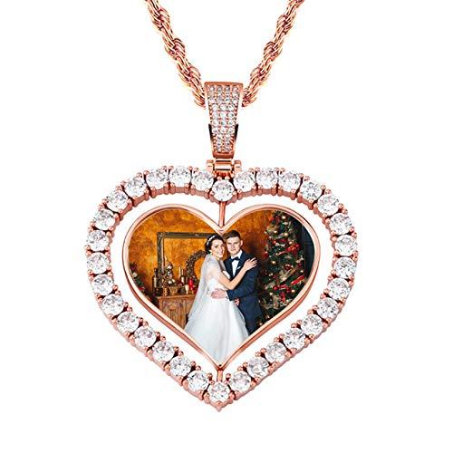 Collar personalizado con foto Nombre personalizado Grabado Colgante Collar con imagen en forma de corazón(Oro rosa 22'(55cm))