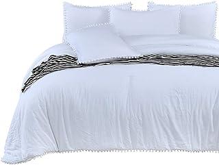 SexyTown- White Pom Pom Fringe Comforter Set,Stone-Washed Brushed Soft Microfiber Inner Fill Bedding (3pcs, Queen Size)
