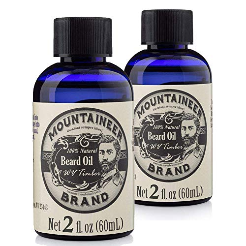 magic beard oils Beard Oil by Mountaineer Brand (4 fl oz total) | Premium 100% Natural Beard Conditioner (WV Timber | Two-Ounce 2 Pack)