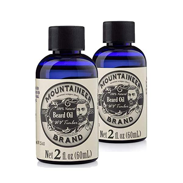 Beard Oil by Mountaineer Brand (4 fl oz total) | Premium 100% Natural Beard Conditioner (WV Timber | Two-Ounce 2 Pack) 1