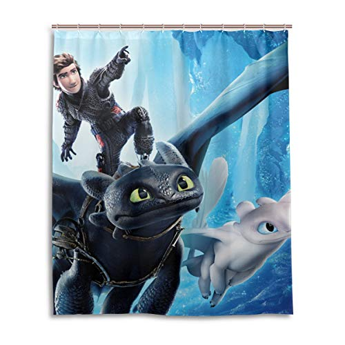 Shower Curtain Set, Fabric How to Train Your Dragon Shower Curtains Waterproof Bathroom Decor Set with Hooks 60x72 Inch