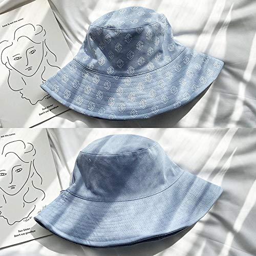 Hut weibliche Sommerflut wilde doppelseitige Fischerhut japanische Abdeckung Gesicht dünne Sonnencreme Sonnenhut-Beidseitig tragbar_Blau