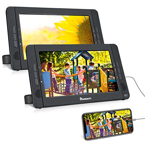 NAVISKAUTO 10.5  Dual Screen Portable DVD Player for Car with HDMI Input, Two Mounting Brackets, Built-in Rechargeable Battery, Support USB Playback