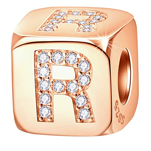 Letter R Charm Rose Gold Dice Beads with CZ fit Pandora Women Bracelet, 925 Sterling Silver Initial A to Z Alphabet r Cube Charms, Gifts for Birthday/BFF/Christmas/Mothers Day/Ramadan