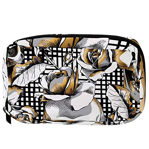 TIZORAX Cosmetic Bags Golden Skull And Rose On Checked Handy Toiletry Travel Bag Organizer Makeup Pouch for Women Girls