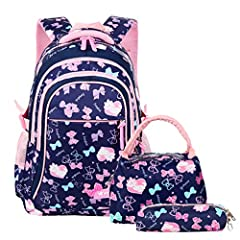 ❤Cute School Backpack-This school backpack has a stylish appearance,embellished with cute bowknots printing,will make your children love it at the first sight.The cute backpack is made of high quality waterproof nylon which is tear-resistant,scratch-...