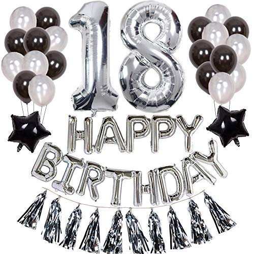Weimi 18. Geburtstag Dekorationen für Jungen aufpumpen Helium Folienballons Dekoration Set Silber