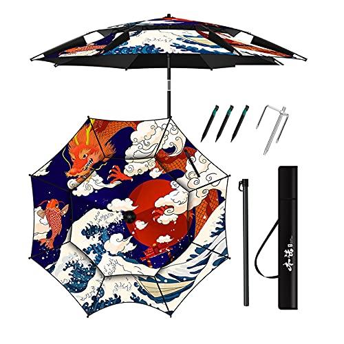 Paraguas de Patio Al Aire Libre, Paraguas de Pesca Portátil, Colorido como Quieras, Protección Solar, Viento Y Lluvia, 2.2m/2.4m