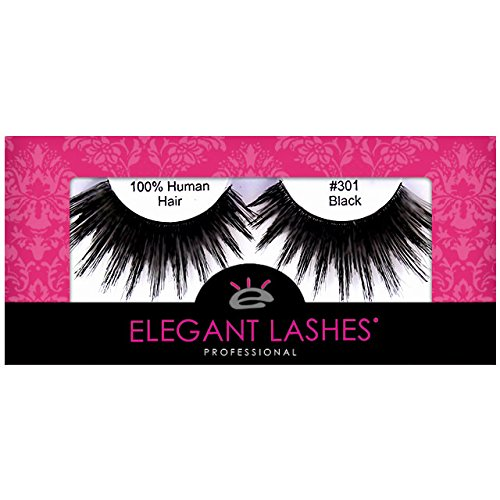 Elegant Lashes #301 The ORIGINAL Drag Queen Lash | Thick Long Black Human Hair False Eyelashes for Drag Halloween Dance Rave Costume