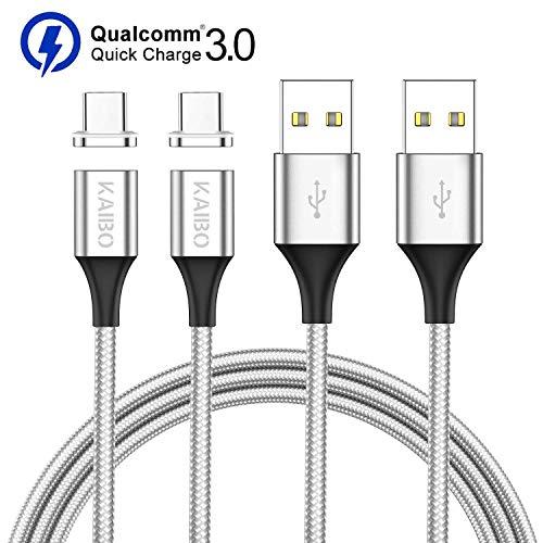 Magnetisches USB Typ C Kabel, KAIBO [2Stück, 1m] Nylon Magnetic USB C Ladekabel Magnet Schnellladekabel Datenkabel für Samsung Galaxy S20 S10 S9 S8, Huawei P30 Mate20, OnePlus, Honor, Xiaomi, LG, Sony