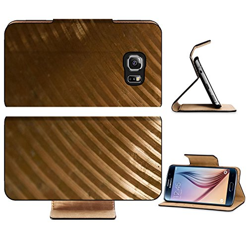 Luxlady Premium Samsung Galaxy S6 Edge Flip Pu Leather Wallet Case IMAGE 24671450 Brass cymbal texture with shading on dark room