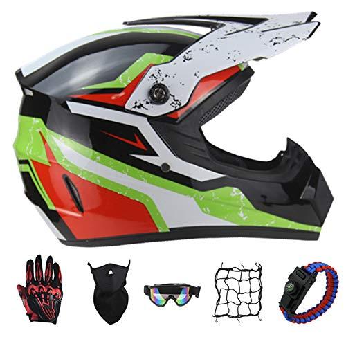 PNNNF Casco de motocross para nios y adolescentes, para bicicleta, mini motocross, cross, ATV Go  Kart  Verde  XL (59  60)