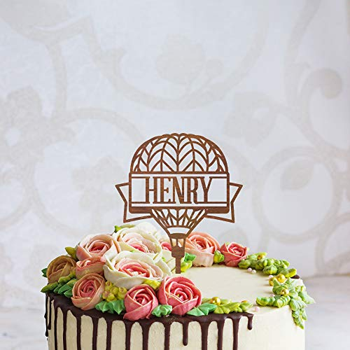Gepersonaliseerde Hot Air Balloon Silhouette Verjaardag Cake Topper, Aangepaste Cake Topper met Naam/Datum, Gelukkige Verjaardag Topper voor Party
