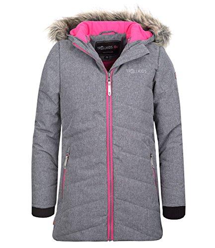 Trollkids Mädchen Lifjell Wasserabweisende Winddichte Ski Jacke Winterjacke, Grau/Magenta, Größe 128