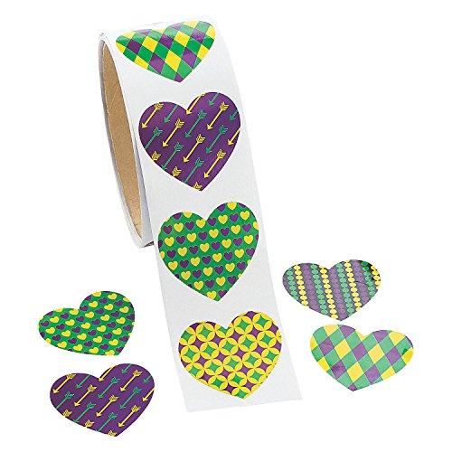 Fun Express - Mardi Gras Heart Shaped Roll Sticker for Mardi Gras - Stationery - Stickers - Stickers - Roll - Mardi Gras - 100 Pieces