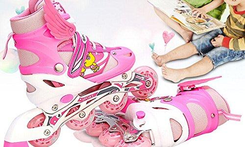 『ローラースケート 大人用/キッズ・子供用インラインスケート ローラーシューズ スポーツウェア 四輪発光 ブルーLJT1』の4枚目の画像