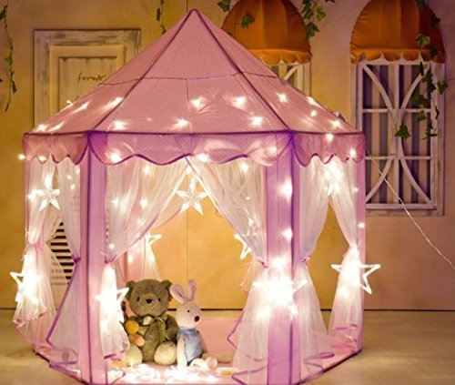 Kids Indoor Princess Play Tent,VicPow Girls Outdoor Castle Playhouse for Childs Toddlers Gift/Presents,55'x 53'(DxH)-Balls and Blanket Not Included
