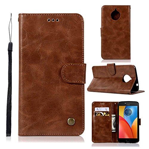 pinlu® Hülle Für Motorola Moto E4 Plus Prämie PU Leder Schutzhülle Wallet Hülle Mit Standfunktion & Magnetverschluß Kartenfach Design Retro Crazy Horse Muster Braun