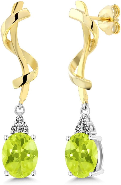 3.45 Ct Oval Yellow Lemon Quartz White Diamond 925 Sterling Silver Earrings