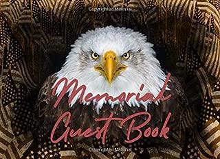 Memorial Guest Book: Patriotic Eagle and Flags Design