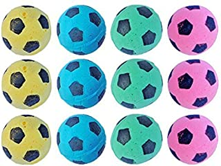 PetFavorites Foam Sponge Soccer Ball Cat Toy Interactive Cat Toys Independent Pet Kitten Cat Exrecise Toy Balls for Real Cats Kittens, Soft, Bouncy and Noise Free.