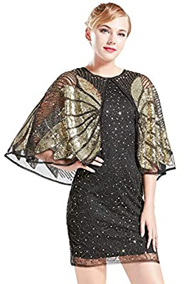BABEYOND 1920s Flapper Dress with Sequined Cape Roaring 20s Gatsby Beaded Dress Gold Shawl Deco Art Deco Dress
