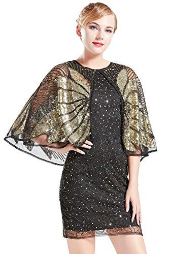 Coucoland sukienka z frędzlami z frędzlami z cekinami z cekinami z cekinami rycząca lata 20-te fantazyjna sukienka Gatsby kostium sukienka dekolt w serek vintage z koralikami sukienka wieczorowa