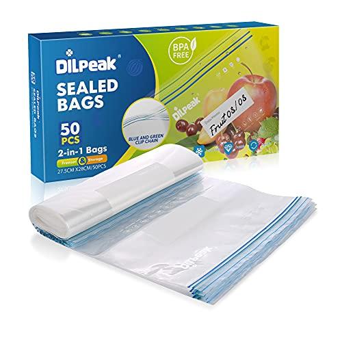 50 bolsas de sándwich, resellables, resistentes, selladas, bolsas de congelador, para frutas, verduras, pescado, carne o necesidades diarias, 28 x 27 cm