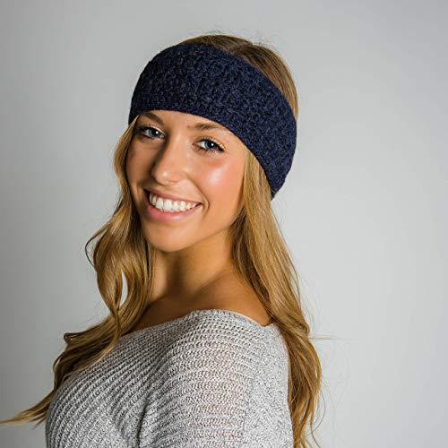 Surhilo Talara Alpaca Knit Head Warmer - Navy - Winter Luxury Handmade Headband