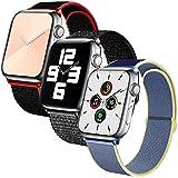 SSEIHI Correa de Apple Watch 42mm 44mm,Soft Sport Loop Reemplazo de Correa de Repuesto de Nylon Transpirable Ligero para la iWatch Serie 6/5/4/3/2/1,SE,Sport, Edition,B/RedB/Alaskan Blue