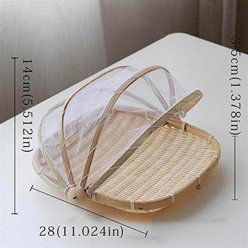 ZANGAO Cesta de Mimbre Hecha a Mano de bambú Tejida a Prueba de Insectos Bandeja de Fruta de Picnic a Prueba de Polvo Cubierta de Platos de Pan de Comida con Gasa (Color : Square28cm)