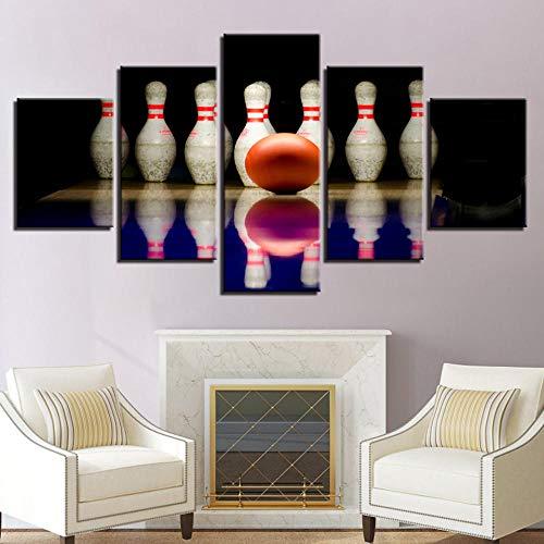 h a Drucken Gemälde Modular Poster 5 Panel Bowling Wand Bild Leinwand Rahmenkunst für Wohnzimmer Home Decoration Artwork Vliesstoff mit Rahmen Pentas HA