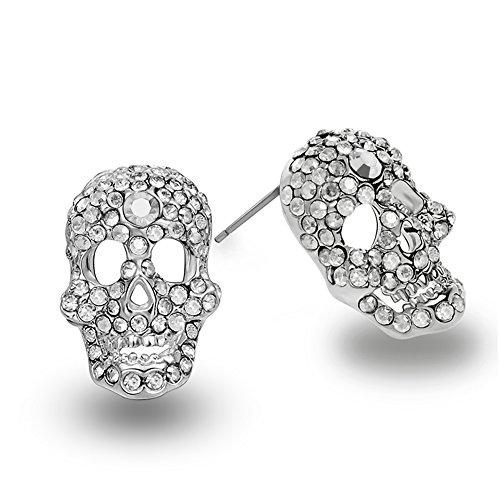 EVBEA Orecchini a forma di teschio CZ orecchini argento Diomand cristallo cranio orecchini per donna