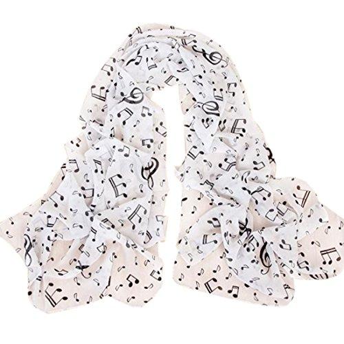 Preisvergleich Produktbild Schals Damen,  ABsolute Mode Frauen Musiknote Lange Schal Wrap Damen Mädchen Licht Große Schals (160cm*50cm,  Weiß)