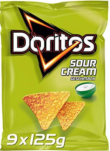 Doritos Sour Cream – Sour Cream Tortilla Nachos – Herzhafter Snack zum Knabbern aus Mais – 9 x 125g. Verpackung kann variieren (grün oder blau)