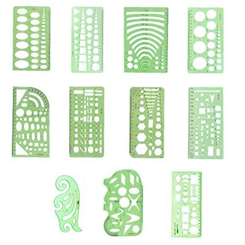 11 PCS geométrica Dibujos Modelos Verdes de plástico Transparente Reglas Reglas geométricas de medición Plantillas