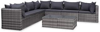 vidaXL Set Muebles de Jardín y Cojines 8 Piezas Ratán Sintético Hogar Mobiliario Exterior Decoración Casa Hogar Asientos Mesas Sofás Sillones Gris