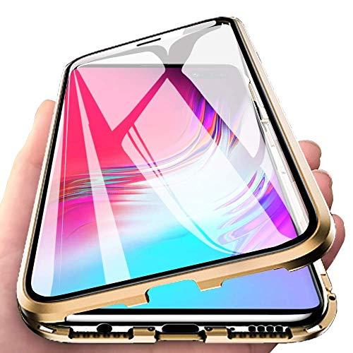 Yichxu Huawei P30 Lite Hülle Magnet, Magnetische Adsorption Handyhülle für Huawei P30 Lite, Einteiliges 360 Grad Gehärtetes Glas Schutzhülle Panzerglasfolie Durchsichtige Hülle Cover, Gold