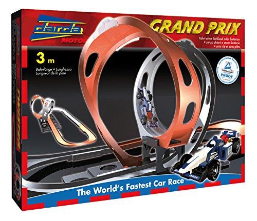 SIMM Spielwaren Darda 50108 Circuit de Course Grand Prix avec Voiture de Course Bleue Longueur de Piste 300 cm