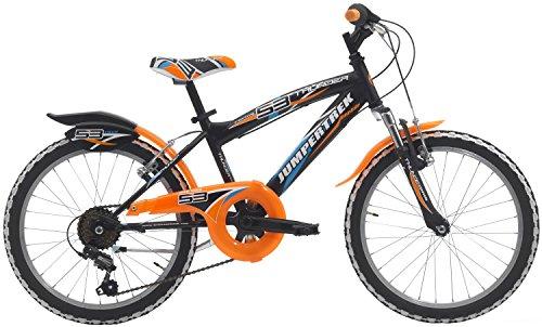 Cicli Cinzia Bicicletta 20' MTB Thunder per Bimbo, 6/V Revo Shift V-Brake Alluminio, Moll. con Parafango Nero Op./Arancio