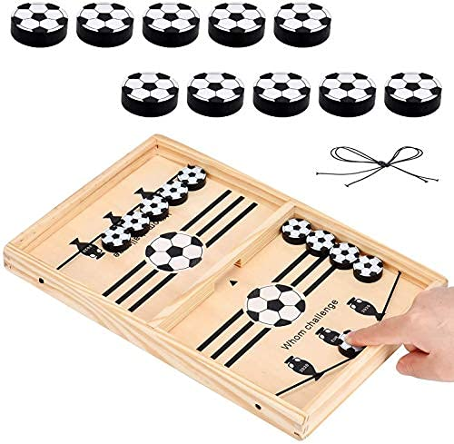 ANITED Fast Sling Puck Board Game Wooden Portable Table Adults Tabletop Slingshot Toys Desktop Sport All Age Group Hockey Game Fast Adults Games Super Game Best Gift Fro Kits