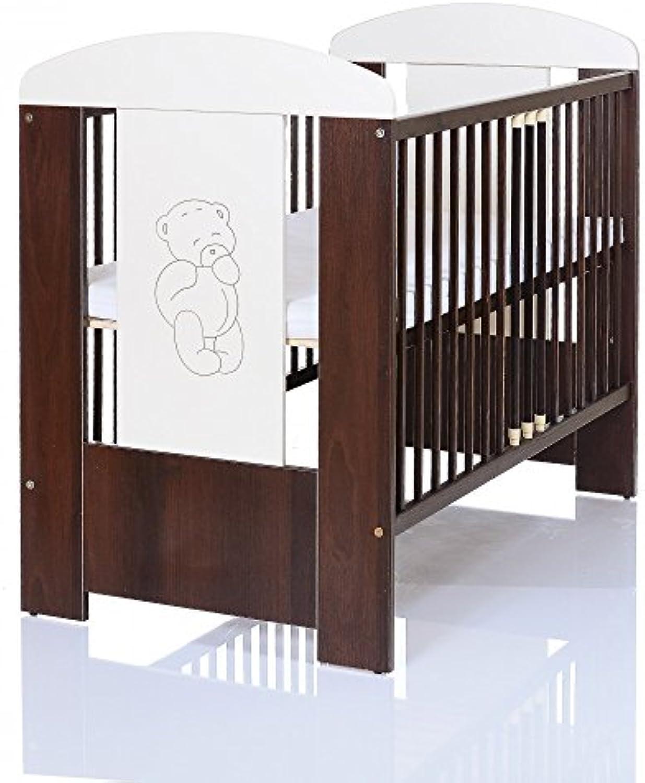 Kinderbett 120x60 cm wei-braun mit 3-fach Hhenverstellbarer Komfort Matratze und 3 Schlupfsprossen