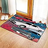 Yaoni Rutschfester Badvorleger, Autos, Pop Art stilisierte Gruppe amerikanischen Muscle Cars mit Ster,Mikrofaser Duschvorleger Teppich für Badezimmer Küche Wohnzimmer 40x60 cm