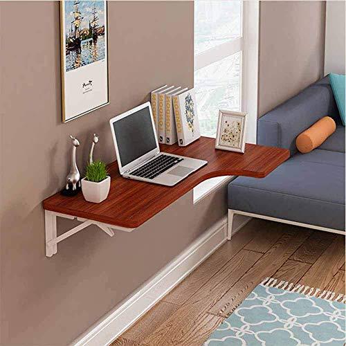 AISHANG Mesa montada en la Pared Escritorio de computadora Plegable Mesas de Estudio Ahorre Espacio Soporte de Metal, 4 tamaños para Estudio, Dormitorio, baño o balcón (Color: Color Teca, tamaño: 10